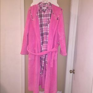 Victoria's Secret Cozy Plush PINK Robe & PJ's XS